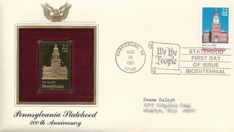 First day cover bearing 22-cent Pennsylvania stamp