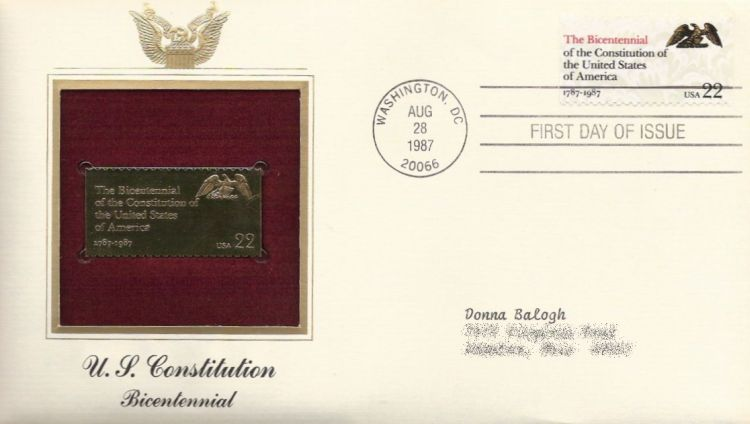 First day cover bearing 22-cent the Bicentennial stamp