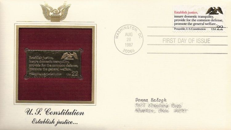 First day cover bearing 22-cent establish justice stamp