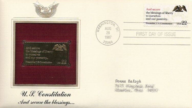 First day cover bearing 22-cent and secure stamp