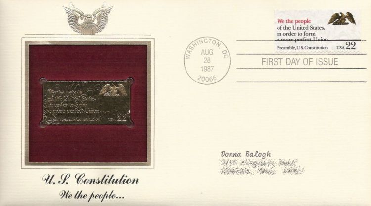 First day cover bearing 22-cent we the people stamp