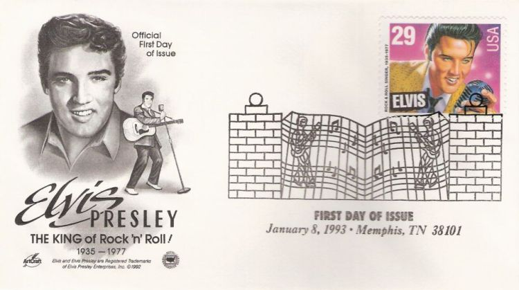 First day cover bearing 29-cent Elvis Presley stamps