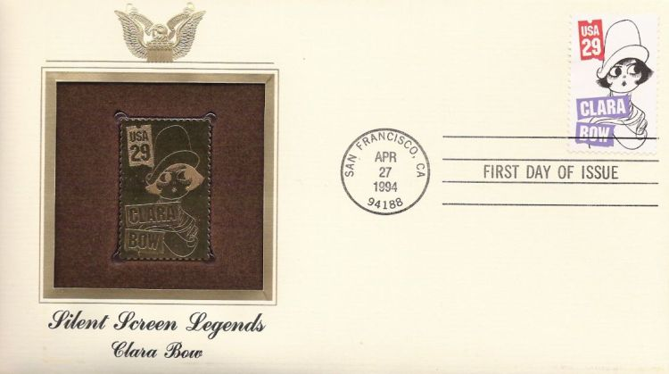 First day cover bearing 29-cent Clara Bow stamp