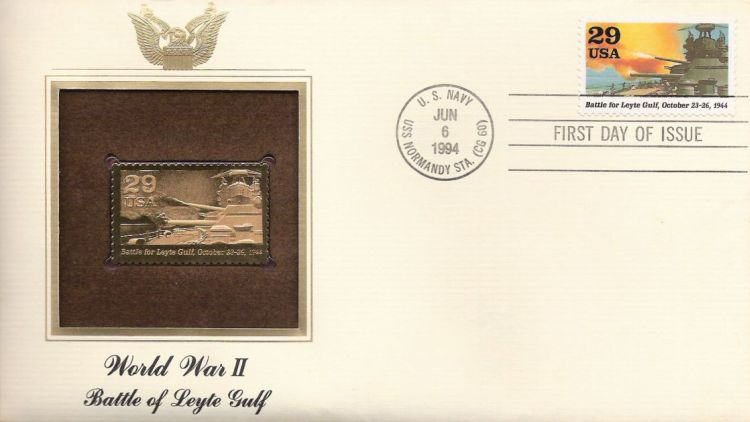 First day cover bearing 29-cent Battle for Leyte Gulf stamp