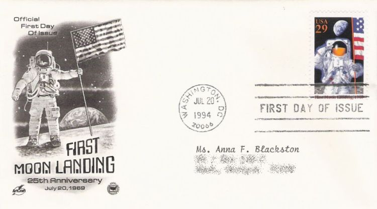 First day cover bearing 29-cent first Moon landing stamp