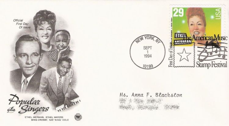First day cover bearing 29-cent Ethel Merman stamp