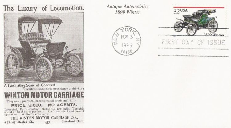 First day cover bearing 32-cent 1899 Winton stamp