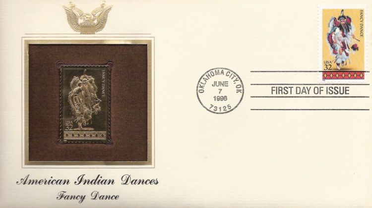 First day cover bearing 32-cent fancy dance stamp