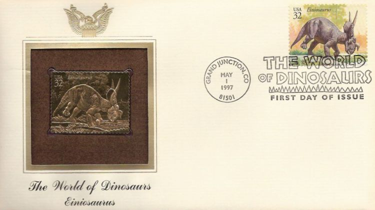 First day cover bearing 32-cent einiosaurus stamp