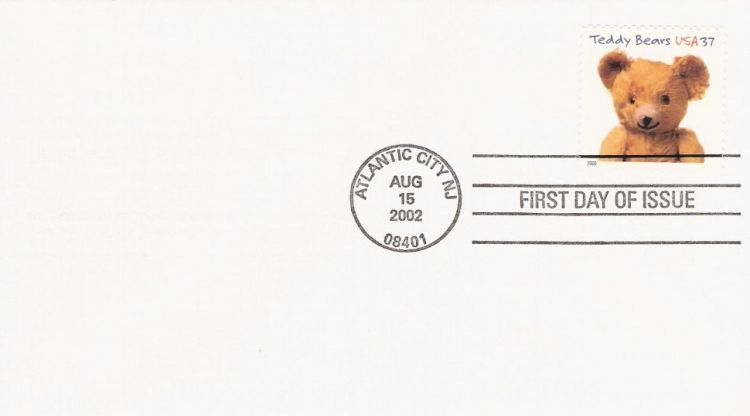 First day cover bearing 37-cent Gund bear stamp