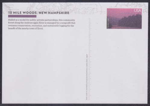Forever U.S. postal card with imprinted stamp design picturing 13 Mile Woods in New Hampshire, USA
