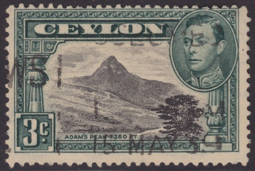 3-cent Ceylonese postage stamp picturing Adam's Peak on Sri Lanka