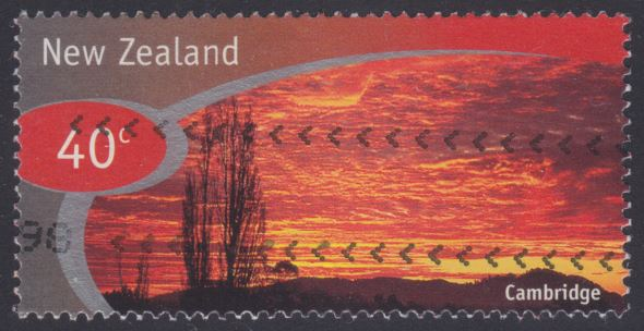 40-cent New Zealand postage stamp picturing Cambridge on the North Island