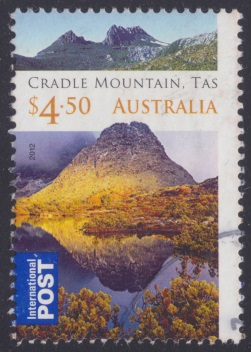 $4.50 Australian postage stamp picturing Cradle Mountain & Dove Lake in Tasmania