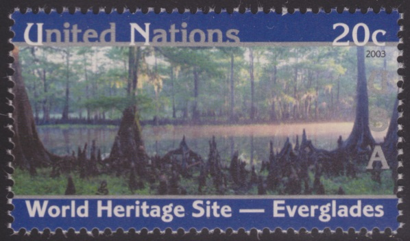 20-cent United Nations postage stamp picturing the Everglades in Florida, USA