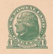 Green 1-cent U.S. postal card picturing Thomas Jefferson