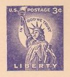 Purple 3-cent U.S. postal card picturing Statue of Liberty