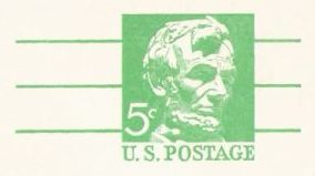 Green 5-cent U.S. postal card picturing Abraham Lincoln