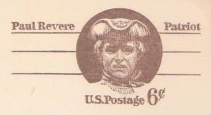 Brown 6-cent U.S. postal card picturing Paul Revere
