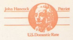Orange non-denominated 10-cent U.S. postal card picturing John Hancock