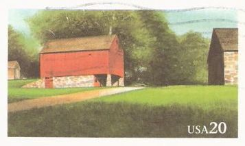 20-cent U.S. postal card picturing barns