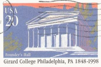 20-cent U.S. postal card picturing Founder's Hall at Girard College