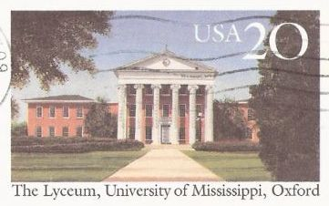 20-cent U.S. postal card picturing the Lyceum at the University of Mississippi