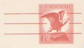 Red 6-cent U.S. postal card picturing bald eagle