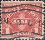 Scarlet $1 U.S. postage due stamp picturing word 'one'