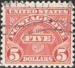 Scarlet $5 U.S. postage due stamp picturing word 'five'