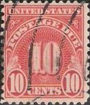 Scarlet 10-cent U.S. postage due stamp picturing numeral '10'
