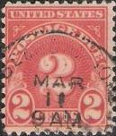 Scarlet 2-cent U.S. postage due stamp picturing numeral '2'