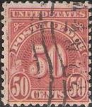 Scarlet 50-cent U.S. postage due stamp picturing numeral '50'