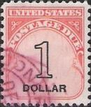 $1 U.S. postage due stamp picturing numeral '1' and word 'dollar'