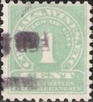 Gray green 1-cent U.S. revenue stamp picturing numeral '1'
