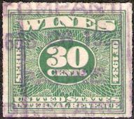Green 30-cent U.S. revenue stamp picturing numeral '30'