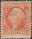 Brown orange 2-cent U.S. revenue stamp picturing George Washington