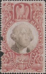 Brick red & black $2.50 U.S. revenue stamp picturing George Washington
