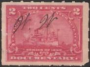 Red 2-cent U.S. revenue stamp picturing battleship