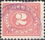 Red 2-cent U.S. revenue stamp picturing numeral '2'