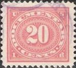 Red 20-cent U.S. revenue stamp picturing numeral '20'