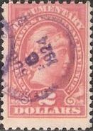 Red $2 U.S. revenue stamp picturing Liberty