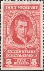 Red $5 U.S. revenue stamp picturing G.M. Bibb
