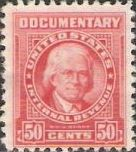 Red 50-cent U.S. revenue stamp picturing William J. Duane
