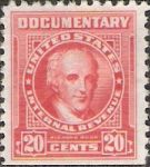 Red 20-cent U.S. revenue stamp picturing Richard Rush