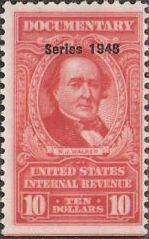 Red $10 U.S. revenue stamp picturing R.J. Walker