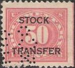 Red 50-cent U.S. revenue stamp picturing numeral '50'