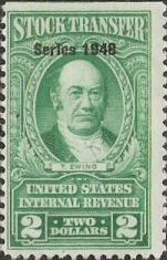 Green $2 U.S. revenue stamp picturing Thomas Ewing