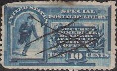 Blue 10-cent U.S. postage stamp picturing running messenger