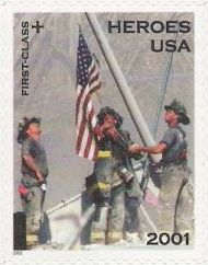 Non-denominated 37-cent + 8-cent U.S. postage stamp picturing firefighters at World Trade Center site